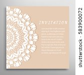 invitation or card with lace... | Shutterstock .eps vector #583900072