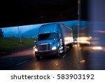 blue semi truck in the