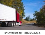 classic red big rig long haul... | Shutterstock . vector #583903216
