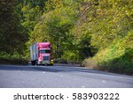 professional red big rig semi... | Shutterstock . vector #583903222
