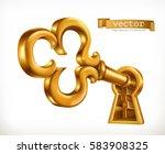 golden key in keyhole 3d vector ... | Shutterstock .eps vector #583908325