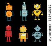 vector set of funny robots.... | Shutterstock .eps vector #583910392