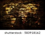 world map in a grunge bricks... | Shutterstock . vector #583918162