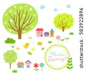 cute spring village and nature...   Shutterstock .eps vector #583922896