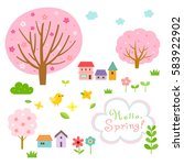 cute spring village and floral... | Shutterstock .eps vector #583922902