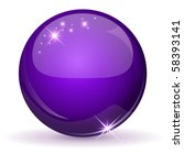 Violet Glossy Sphere Isolated...