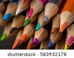 closeup of sharpened color... | Shutterstock . vector #583932178