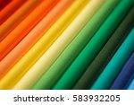 array of vibrant color pencils | Shutterstock . vector #583932205