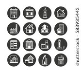 building icon set in circle... | Shutterstock .eps vector #583935442