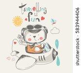 cute baby bear flying on a...   Shutterstock .eps vector #583944406