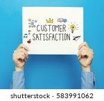 customer satisfaction text on a ... | Shutterstock . vector #583991062