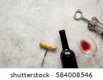 bottle of red wine and... | Shutterstock . vector #584008546