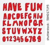 doodle font 3d alphabets...   Shutterstock .eps vector #584017195