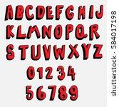 doodle font 3d alphabets... | Shutterstock .eps vector #584017198