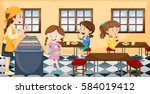 Stock vector children having lunch in canteen illustration 584019412