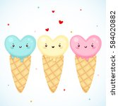 cute ice cream  blue  pink and... | Shutterstock .eps vector #584020882