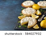 lemon pie with meringue on a... | Shutterstock . vector #584027932
