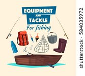 fishing and fisherman tackle... | Shutterstock .eps vector #584035972