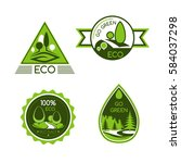 go green vector icons. nature... | Shutterstock .eps vector #584037298