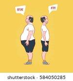 diet concept.  man weight loss. ... | Shutterstock .eps vector #584050285