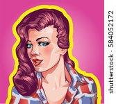 young woman vintage portrait ... | Shutterstock .eps vector #584052172