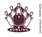 bowling tournament poster or... | Shutterstock .eps vector #584056558