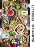 hands of buddies eating... | Shutterstock . vector #584058175