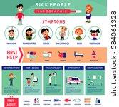 sick people infographic... | Shutterstock .eps vector #584061328
