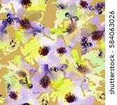 seamless summer pattern with... | Shutterstock . vector #584063026