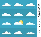 Set Of Clouds Icons. Sun Behin...