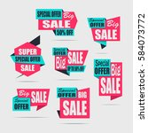 set of sale banners. red... | Shutterstock .eps vector #584073772