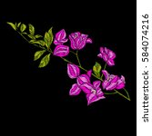 embroidery. embroidered design... | Shutterstock .eps vector #584074216