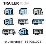 vector line trailer icons set... | Shutterstock .eps vector #584081026