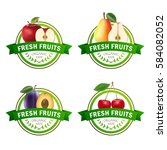 set of fruits badges. apple ... | Shutterstock .eps vector #584082052