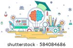 flat line knowledge and... | Shutterstock .eps vector #584084686
