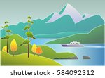 beautiful landscape with... | Shutterstock .eps vector #584092312