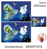 alien on a ufo and ghost. find... | Shutterstock .eps vector #584097076