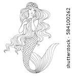 hand drawn mermaid  on white...