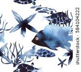 seamless watercolor pattern ... | Shutterstock . vector #584104222