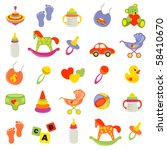 set of beautiful baby icons | Shutterstock .eps vector #58410670