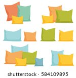 comfortable bed pillow  set... | Shutterstock . vector #584109895
