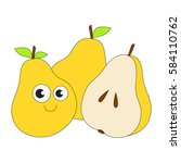 three funny pears with half... | Shutterstock .eps vector #584110762