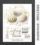 egg hunt invitation template...   Shutterstock .eps vector #584113666