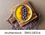 yellow smoothie. soup with... | Shutterstock . vector #584118316