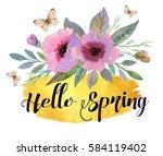 beautiful watercolor border...   Shutterstock . vector #584119402