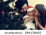 family christmas party... | Shutterstock . vector #584128402