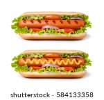 Stock photo hot dog with mustard isolated on white background 584133358
