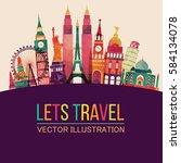 world skyline. travel and... | Shutterstock .eps vector #584134078