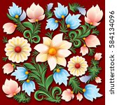 abstract spring floral ornament ... | Shutterstock .eps vector #584134096