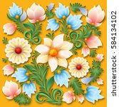 abstract spring floral ornament ... | Shutterstock .eps vector #584134102